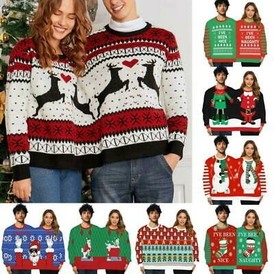 Christmas Xmas Two Person Couple Knitted Santa Elk Print Pullover Sweater Jumper