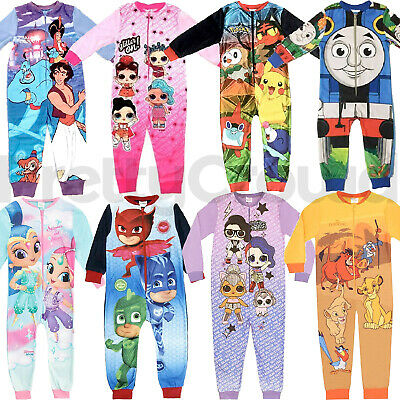 Kids Fleece All In One Sleepsuit Pyjamas Pjs Character Nightwear Girls Boys Gift
