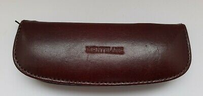 ⭐ Used Vintage 1960's Montblanc Brown Leather Zip Pen Case - Fits 2 Pens ⭐