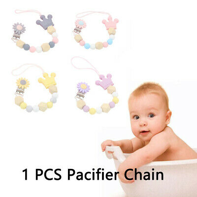 Flower Silicone Baby Pacifier Clips Silicone Crown Pacifier Chain Holder Baby