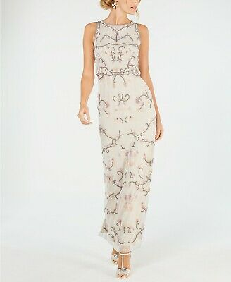 Adrianna Papell Blouson Beaded Gown $349 Size 2 # 4NB 335 Blm