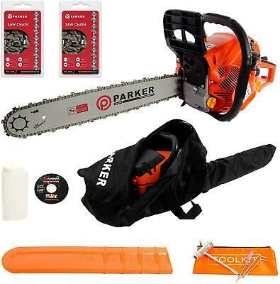 """New 62cc 20"""" Petrol Chainsaw 2 Stroke+ 2 X Chains Carry Bag Bar Cover Tool Kit"""