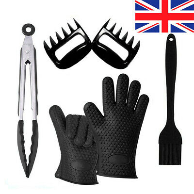 BBQ Silicone Grill Tools Set Utensils Cooking Glove Brush Tongs Kit Meat Claw