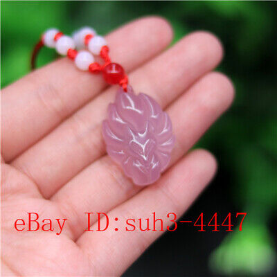 Natural Pink Jade Nine-tailed Fox Pendant Agate Necklace Jewelry Carved Amulet