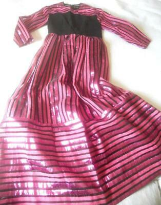 Vintage 1960'S Mr Antony Striped Black With Pink Lame Long Sleeves Maxi Dress S
