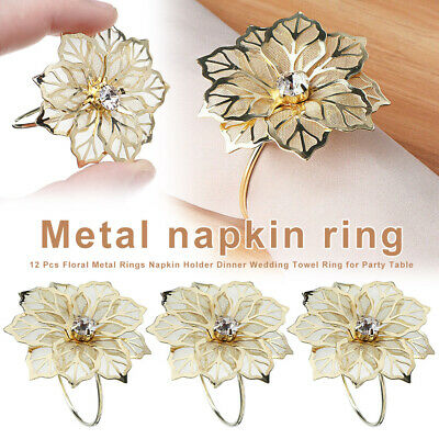 12pcs Floral Alloy Rings Napkin Holder Dinner Wedding Towel Ring Party
