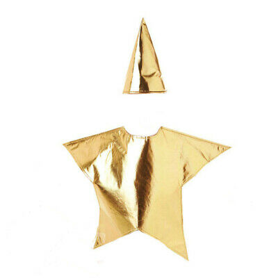 Childrens Gold Star Costume Nativity Christmas Santa Fancy Dress Kids Costume UK