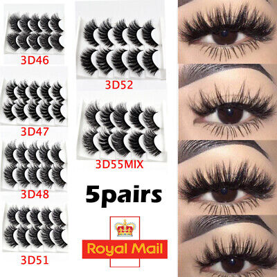 5Pair 3D Mink False Eyelashes Wispy Cross Long Thick Soft Fake Eye Lashes UK Mix