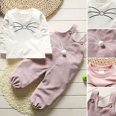 2pcs Kid's Girls Cute Long Sleeve Round Neck Tops+Pants Romper Overalls Outfits