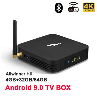 TX6 Smart Android TV Box Android 9.0 4+64GB Quad Core Dual WiFi HD 4K Media