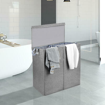 Foldable Laundry Bin, Double Laundry Hamper + Magnetic Lid & Removable Liners