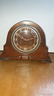 Vintage Smiths Wooden Mantle Clock Made In Great Britain Untested Spares Repair