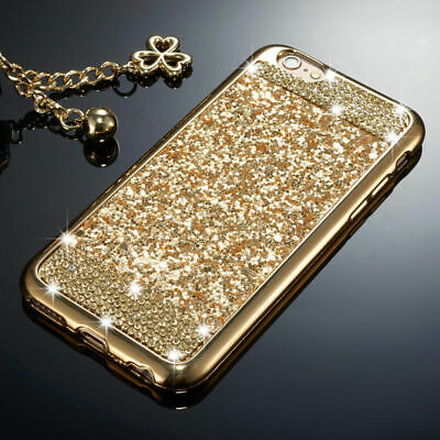 Silicone Case For iPhone 11 Pro MAX 11 Pro Bling Glitter Diamond Soft Gold