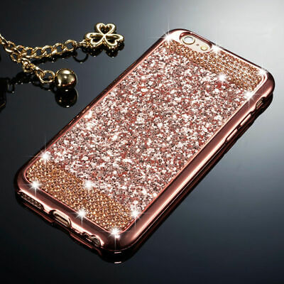 Silicone Case For iPhone 11 Pro MAX 11 Pro Bling Glitter Diamond Soft Rose Gold
