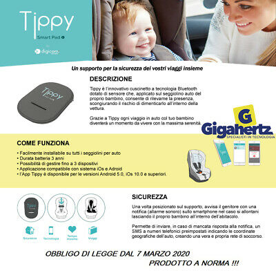 DISPOSITIVO ANTI ABBANDONO TIPPY DIGICOM + App per telefono bluetooth NUOVO