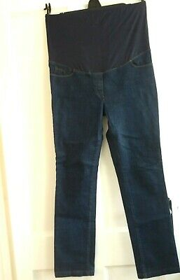 Next Maternity dark blue straight leg over bump jeans with stretch size 12 R