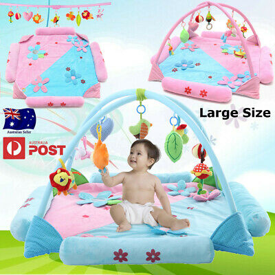 Large Foldable Kids Baby Musical Play Mat Activity Gym Playmat w/ Hanging Toys