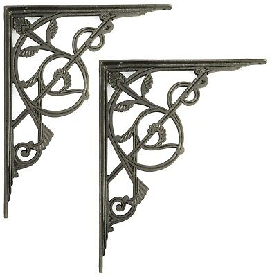 Pair of Large Cast Iron Trellis Shelf Brackets - Two support sizes: 25 or 30 cm