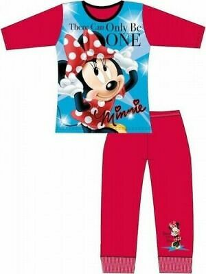 Disney Minnie Mouse Pyjamas Childrens Kids Girls Red Blue PJs Age 4-10 Years