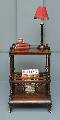 Victorian Burr-Walnut Canterbury Whatnot Magazine Stand / Rack