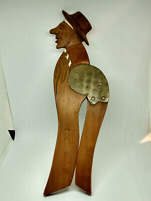 Superb Antique Black Forest Carved Wood and Brass Nutcracker Painted