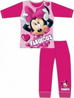 Disney Minnie Mouse Pyjamas Childrens Kids Girls Pink PJs Age 4-10 Years