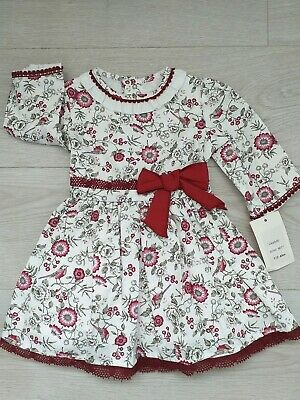 Girls Spanish dress wine Floral Dress bird Ages 2 years old