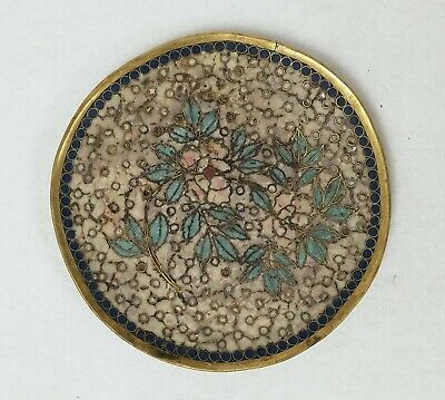 Antique Cloisonne & Bronze Round Tray Asian Chinese Japanese