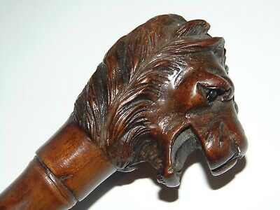 Fabulous Antique 1900 Carved Wooden Lion Head Walking Cane Stick Ruby Glass Eyes