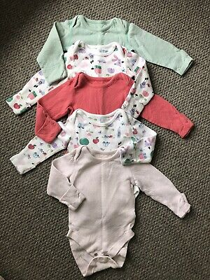5 X Girls Long Sleeve Vests 3-6 months