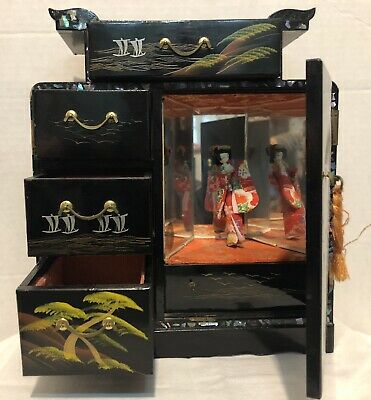 Vintage Tilso Japan Handpainted Black Laquer Musical Jewelry Box