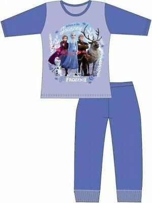 Disney Frozen II Pyjamas Childrens Kids Girls Blue PJs Age 4-10 Years