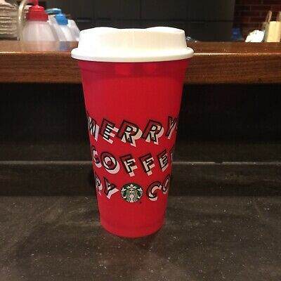 Starbucks 2019 Red Reusable Hot Cup Grande 16 oz Merry Coffee Holiday Xmas