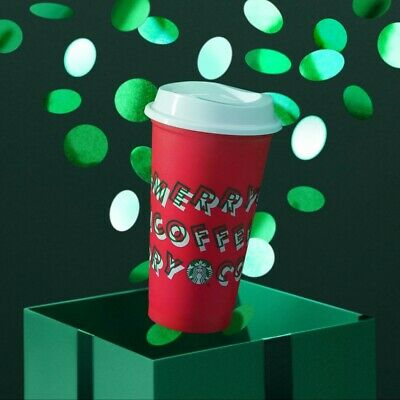 New Starbucks Holiday Christmas 2019 Red Reusable Cup w/ Lid Merry Coffee 16oz