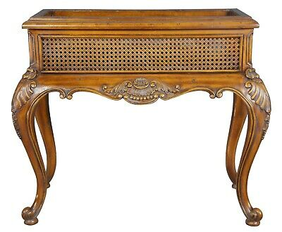 Maitland Smith Carved Mahogany & Rattan Ornate Plant Stand Freestanding Planter