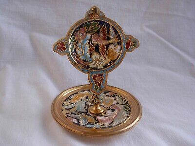 ANTIQUE FRENCH ENAMELED GILT BRONZE POCKET WATCH HOLDER,LATE 19th CENTURY.
