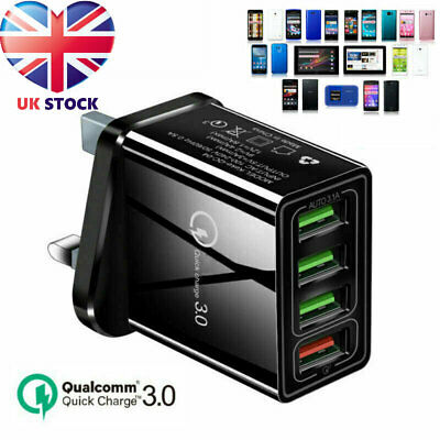 4 Multi-Port Fast Quick Charge QC 3.0 USB Hub Wall Charger Adapter Plug UK