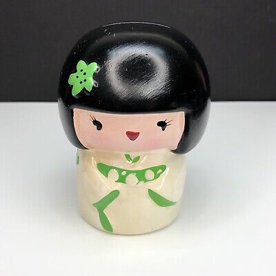 Japanese Geisha Kimono Girl Coin Bank Piggybank Ceramic Vintage Kawaii