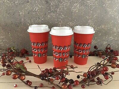 Starbucks 2019 Holiday Reusable Red Hot Cup Grande 16 oz Plastic Merry Coffee