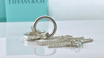 Tiffany & Co Silver 1837 Interlocking Double Circle Rings 16in Necklace  191107A