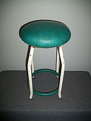 Vintage 1950's Industrial White Tubular Iron Stool with Turquoise Leather Seat