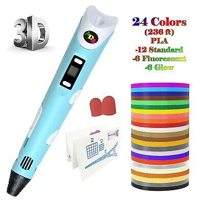 US Fast Ship - 3D Printing Pen LowTemperature with LED + 24Color 236 FtFilament