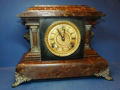 Antique Mantle Clock Chiming Striking Wood with Marble Effect Repairs