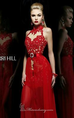 21213 Sherri Hill Red Lace Party Evening Formal Prom Gown Dress Size USA 8