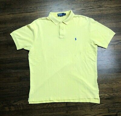 Rugby Ralph Lauren Mens Yellow Polo Shirt Short Sleeve Blue Pony sz Large L Rare