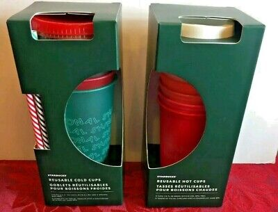 Starbucks 2019 Holiday Christmas REUSABLE HOT COLD CUPS Lot of 2 Free Ship Today