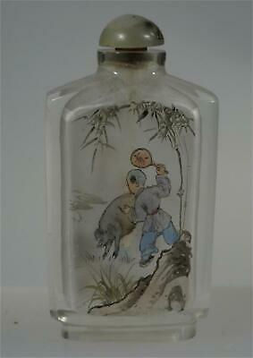 Chinese Vintage Snuff Bottle Inside Painting Man With Pig