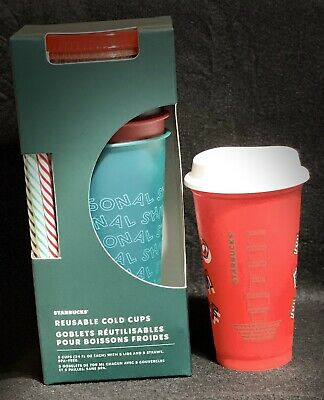 Starbucks 2019 Holiday Reusable Cold Cups With Red Merry Coffee Cup Bundle
