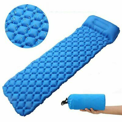Ultralight Inflatable Camping Air Blow Up Mattress Bed Sleeping Mat Pad + Pillow