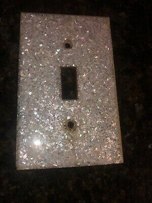Vintage Lucite Light Switch Plate Cover Mother of Pearl 1950s